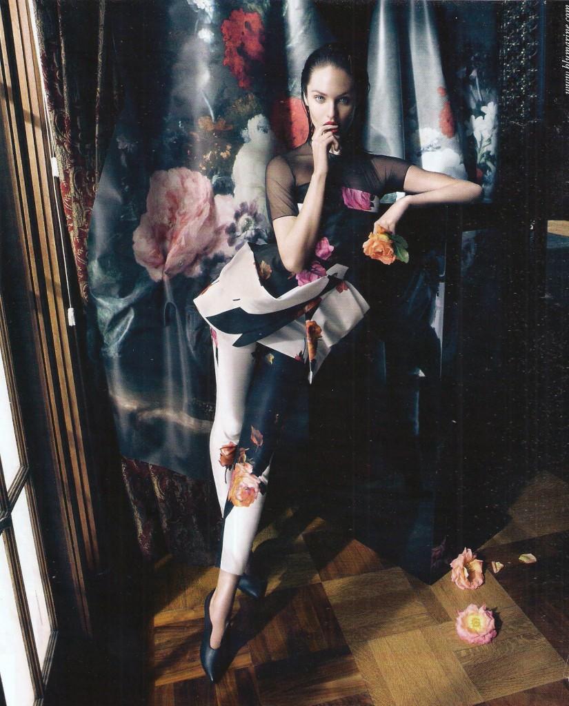Sarà la posa da Pierrot stanco e l'aria fatata della foto, ma anche qui niente bacino e gambe lunghissme, per non parlare del piede extra lungo in posa a punta di compasso.     Pubblcità Bluemarine su Marie Claire 10/13
